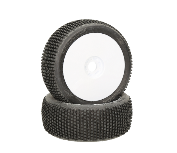 HB RACING HB Gridlock Mounted Tire (White/White Wheel/1:8 Buggy)