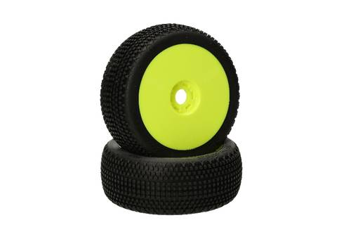 HB RACING HB Gridlock V2 Mounted Tire (Pink/Yellow Wheel/1:8 Buggy)