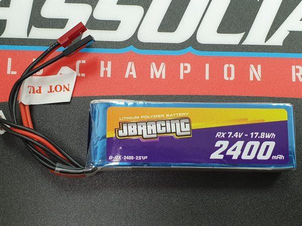 JBRacing LiPO battery 7.4v 2400mah RX pack FLAT