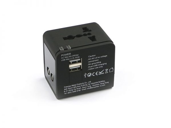 AM Multi-Nation Travel Adapter With USB Charger