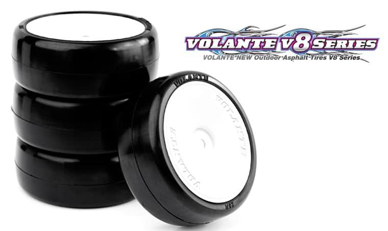 VOLANTE V8T 36R 1/10 TC Rubber Tire Pre-glued 4pcs