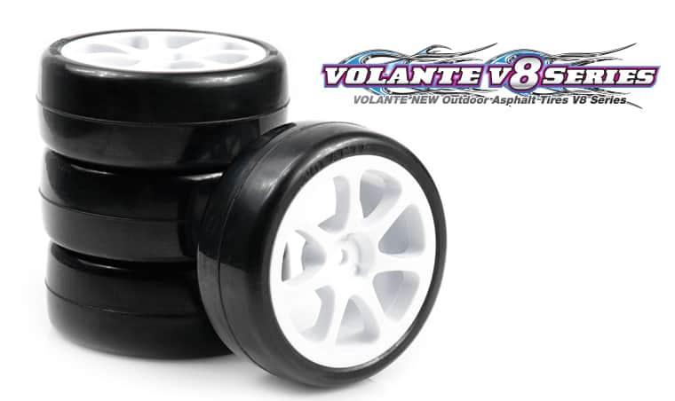 VOLANTE V8T 36R 1/10 TC Rubber Tire Pre-glued 4pcs [Seven Spoke Wheel]
