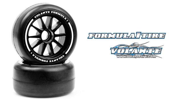 VOLANTE F1 Front Rubber Slick Tires Soft Compound Preglued (YELLOW)