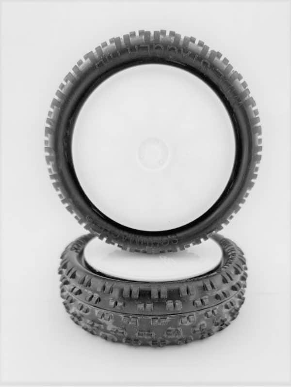 Pre Glued Yellow Wide Stagger Rib – 1/10 on White JC Wheels – (pr)