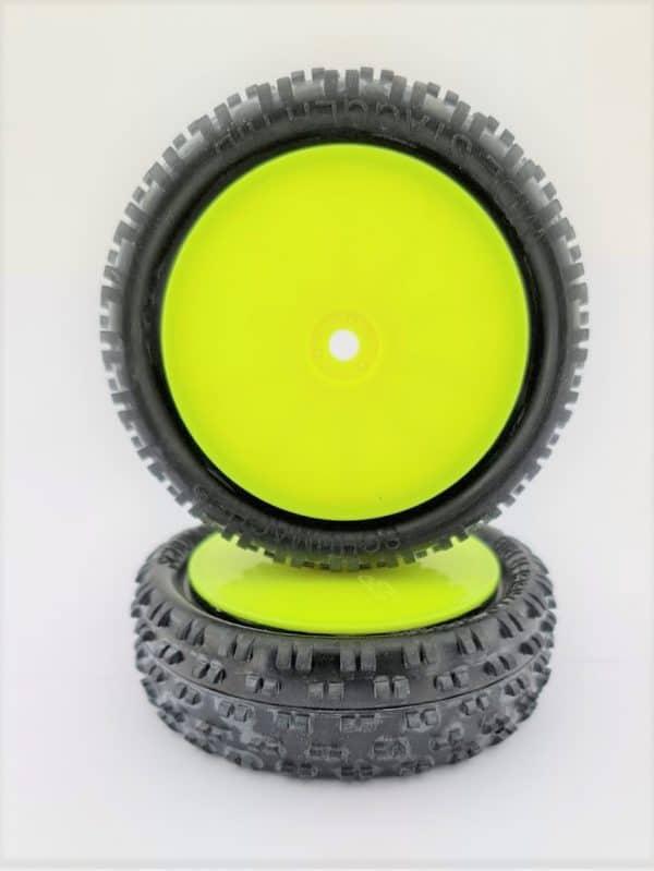 Pre Glued Yellow Wide Stagger Rib – 1/10 on Yellow JC Wheels – (pr)