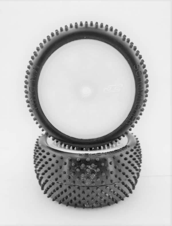 Pre Glued MINI DART 1/10 – REAR on White JC Wheels – (pr)