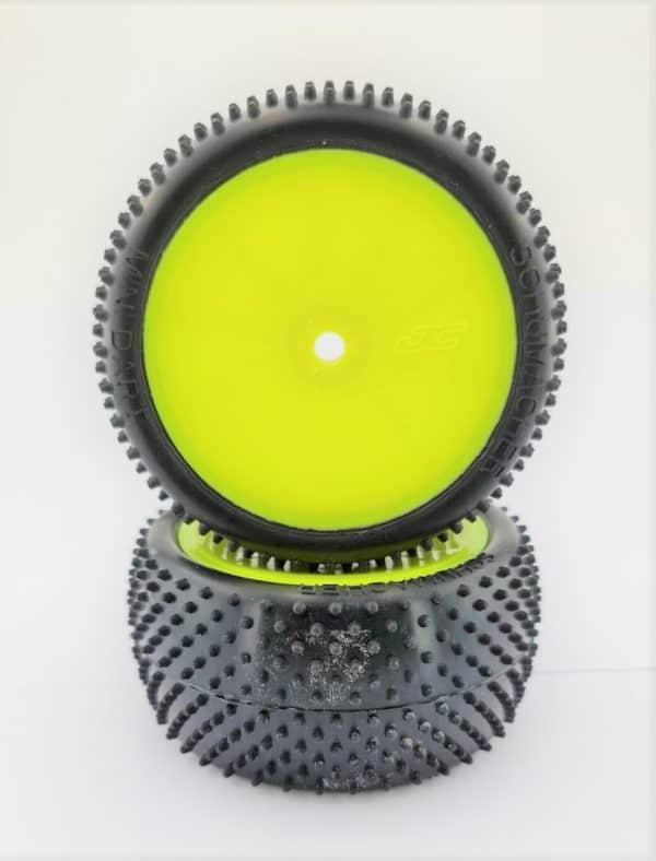 Pre Glued MINI DART 1/10 – REAR on Yellow JC Wheels – (pr)