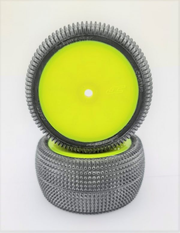 Pre Glued CACTUS 1/10 – REAR on Yellow JC Wheels – (pr)